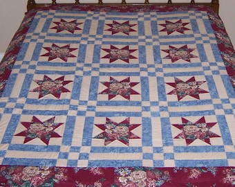 Stars & 9 Patch Twin Size Hand Stitched Quilt, Hand Stitched Quilt, Twin Size Quilt, Matching Quilts, Hand Quilted