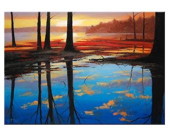 LAKE SUNSET PAINTING sunrise painting Landscape Art Water decor by Graham Gercken