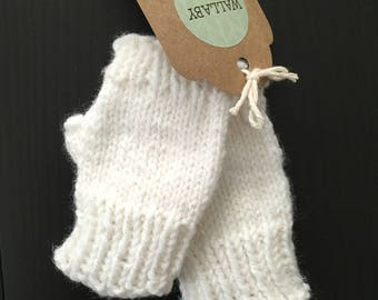 Sparkle White Mitts - Hand Knit Fingerless Preschooler Kid Mitts - Fingerless Mittens