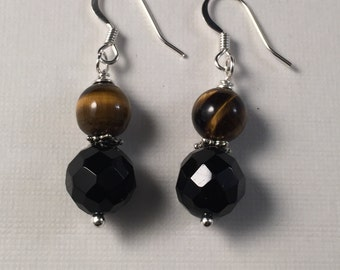 Obsidian and Tiger Eye Earring