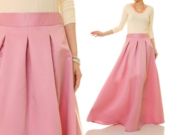 Pink Maxi Skirt   Satin Maxi Skirt   Pink Satin Skirt   Wedding Skirt   Circle Skirt   Evening Skirt   Prom Skirt   Ball Gown Skirt 8067