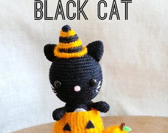 Halloween Black Cat Pattern, Crochet Halloween Pattern, Halloween Toy Pattern, Crochet Amigurumi Pattern, Crochet Cat Pattern