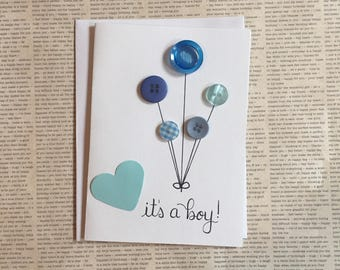 Its a Boy, Baby Boy Card, New Baby Boy Card, Baby Shower Card, New Baby Card, Baby Boy, Pregnancy Congratulations Card, Welcome Little One