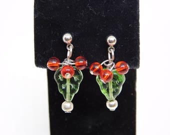 CLEARANCE Holly Leaf and Berry Earrings