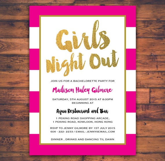 Bachelorette Party Girls Night Out Invitation Card Hen Party