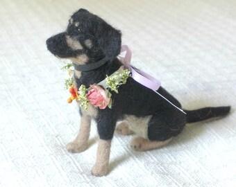 Wedding Keepsake /  Custom made Pet Portrait Sculpture / Wedding Dog by Fiber Artist Gerry of Gourmet Felted