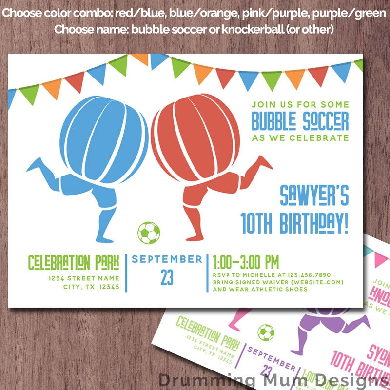 Bubble Soccer Invitation Birthday Party Knockerball Invite