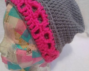 Skull Slouch/ slouchy beanie/ grey and pink/ skulls / fold over brim/ winter beanie/ pink skulls /