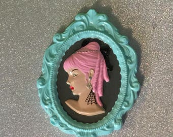 Tattooed Cameo Wall Hanging ~ ReVamped Vintage Piece