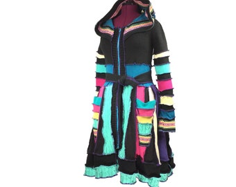 """Black and Bright"""" - Recycled Sweater Coat - Upcycled Sweater Coat - Recycled Clothing - Upcycled Clothing - Festival Coat"""