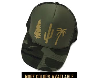 Tree Hat, Women's Trucker Hat, Camo Hat, Adjustable, Women's Camo Snapback, Cactus Hat, Pine Tree, Palm Tree Hat, Camping Hat, Camping Hair