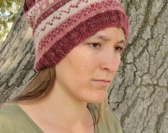 Handspun Handknit Cowl/Hat. Slouchy Wool Hat. Pink/White/Red/Brown Design. OOAK.