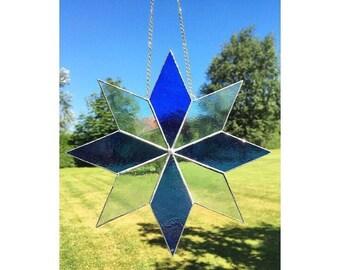 Handmade stained glass large blue star suncatcher decoration gift