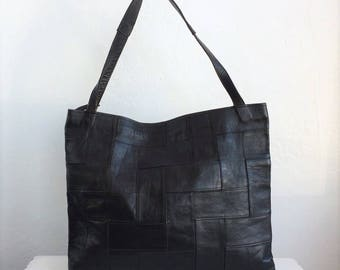 Black Leather Patched Tote 1970's