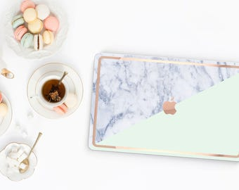 Macbook Pro 13 Case . Paris Mint Makrana Marble . Macbook Air Case . Laptop Case . Macbook Case . Rose Gold Chrome Edge- Platinum Edition