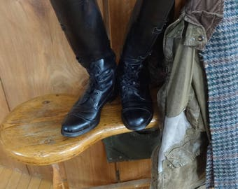Dehner Custom Made Field Boots-1990s-Military Style Buckles,Laces,Riding,Training,Fox Hunting