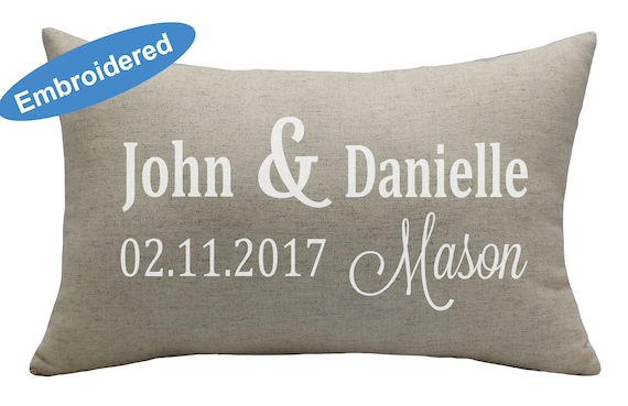 Boy keepsake cushion, unique personalised embroidered cushion pillow, for  birth, newborn or christening, design your own