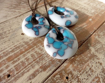 Large Turquoise Pendant Necklace/Fused Glass