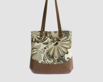 Floral canvas and faux leather bag/canvas tote bag/floral tote bag with grommets/floral canvas purse with grommets/paisley/gift for women