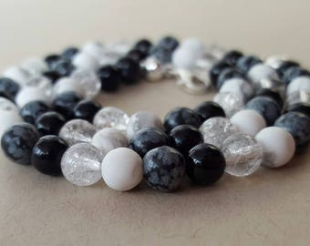 Precious stone chain monochrome beauty - 45 cm
