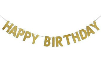 Happy Birthday Banner Chic Glitter Gold Party Decorations Versatile Beautiful Bunting Flag Garland Birthday Party Banner Gold Banner