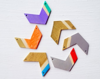 Wood and Resin Arrow Statement Necklace