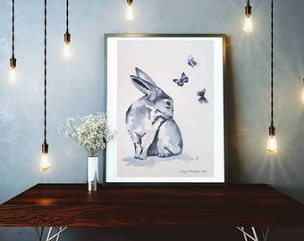 PAINTINGS ORIGINAL,  Hare Painting, Animal Painting, Hare Gift, Hare Art Work, Animal Art, Original Watercolor,  Wall Art, Nursery Art