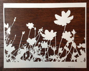 Flowers 4: Cosmos 1 -- Hand-Cut Paper Silhouette of Cosmos