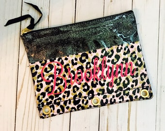 Leopard Pouch monogrammed, personalized