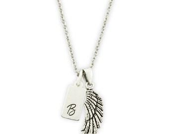 Sterling Silver Angel Wing & Initial Necklace - Initial Jewelry - Monogram Necklace - Sterling Silver Necklace - Sterling Silver Wing
