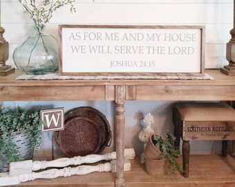 As For Me And My House We Will Serve The Lord. Rustic framed sign. . Framed wood sign. Rustic Framed Sign. Farmhouse Style.