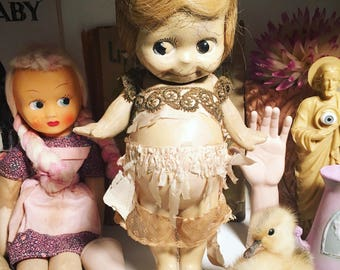 Rose O'Neill 1913 Kewpie Doll with Wings - Composition Doll with Wig and Tattered Clothes - Kitschy Kewpie Collectible - Creepy Cute Doll