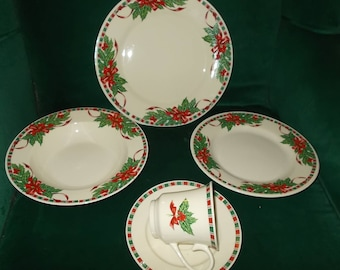 Vintage Christmas Dishes China Dinnerware Set Red Ribbon Bow Holly Berry Green Red Ribbon Service for Four Plates Bowls Cups Saucers & Christmas dishes | Etsy