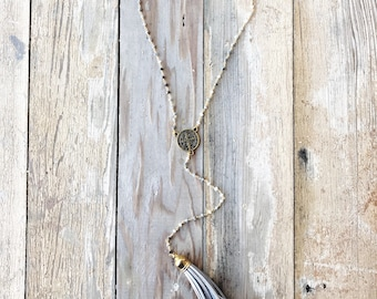 Beaded St. Benedict Tassel Lariat Necklace