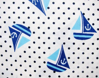 FREE SHIPPING Cotton Fabric - Sailing Ships Fabric on White - Fat Quarter