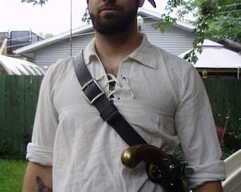 Pirate flintlock gun shoulder holster, universal and adjustable. SCA, LARP, high quality