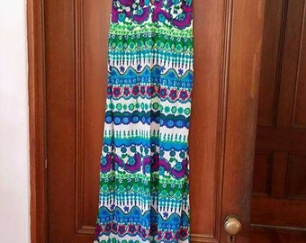 Vintage High Tide California Maxi Halter Summer Dress 1960s Terry Polyester
