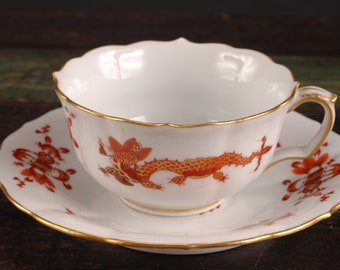 Meissen Red Dragon Cup and Saucer, Germany