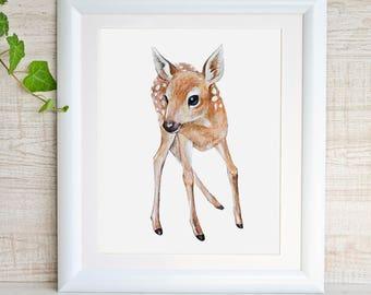 Deer Print Fawn Woodland Nursery Wall Art Forest Baby Animal Print Girl Nursery Art Baby Deer Watercolor Painting Deer Nursery Decor Poster