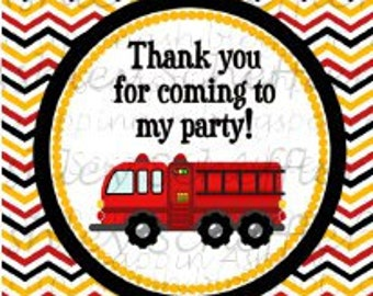 Firefighter. Fire truck. Printable. Favor Tags. Tag. Square Tag. Printable Tag. Instant Download. PDF file.