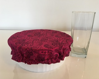 Reusable Eco-Friendly Environmental Fabric Picnic Food Bowl Covers Lids Red Paisley