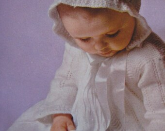 Baby Knitting Pattern - Vintage Pattern PDF, Baby Knitting Pattern for Baby Sweater and Bonnet Set B157c
