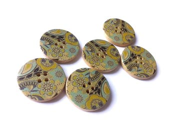 Painted wood button aqua blue and olive green flower pattern 6 x 30mm wood sewing buttons