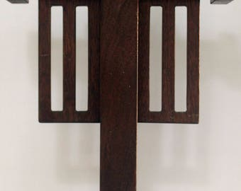 Mission/Arts & Crafts Freestanding Abstract Wooden Sculpture