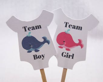 Gender Reveal, Cupcake Toppers, Baby Shirt, Whale, Team Boy, Team Girl, Party Picks, Food Picks, CT028