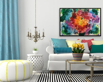 Vibrant Colorful Bright Multicolor Abstract Painting, Painting on Canvas, Art Print for living Room Wall Decoration, New Original Painting