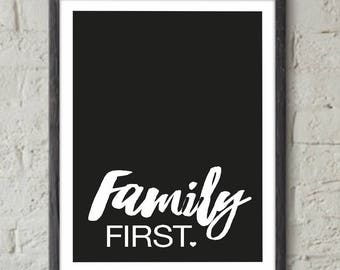 """Poster """"Family First"""" - A4 Format: 21 x 29.7 cm"""