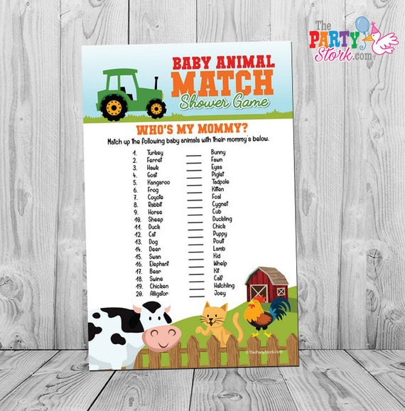 barnyard baby animal match baby shower game farm animal baby