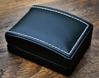 Cufflink Box Faux Leather Black Storage