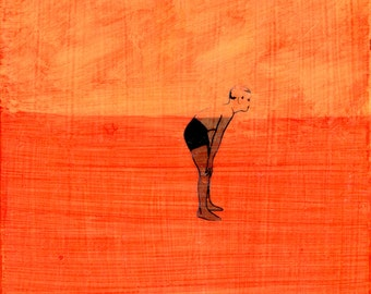 Orange Boy, Floating - original art, small affordable art, acrylic painting by Irene Stapleford - one of a kind - wantknot shop